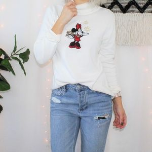 Disney Store Minnie Mouse Holiday Ivory Sweater